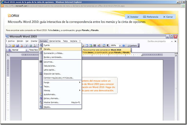 Word 2010 gu a interactiva de correspondencia entre los for En word cual es el interlineado